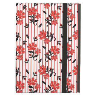 Red flower with red stripes pattern iPad air cases