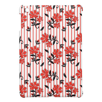 Red flower with red stripes pattern iPad mini case
