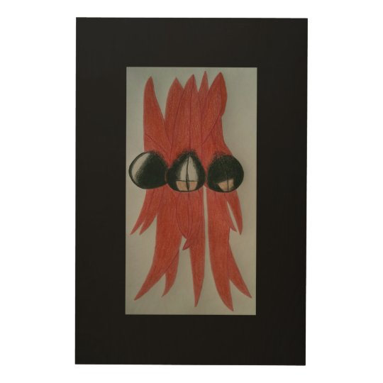 Red flower wood wall decor