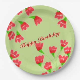 Red Flowered 9 Inch Paper Plates 9 Inch Paper Plate