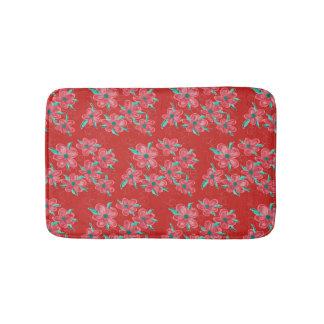 Red Flowered Bathmat