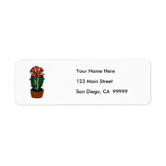 Red Flowered Colored Ink Cactus Return Address Label
