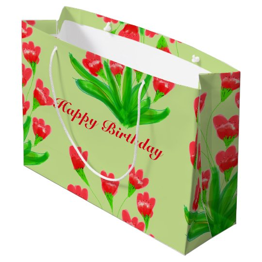 Red Flowered Large Paper Gift Bag