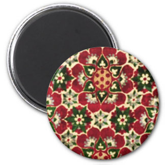 Red Flowered Medici Fabric 2 Inch Round Magnet