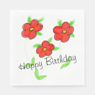 Red Flowered Paper Birthday Napkins Disposable Napkin