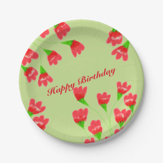 Red Flowered Paper Plates 7 Inch Paper Plate