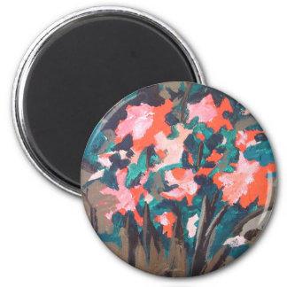 Red-flowered Shrub 2 Inch Round Magnet
