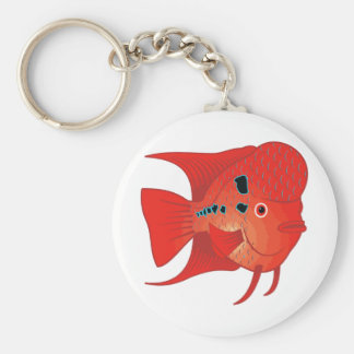 Red Flowerhorn Fish Keychain