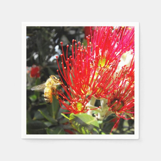 Red Flowering New Zealand Christmas Tree Paper Napkins