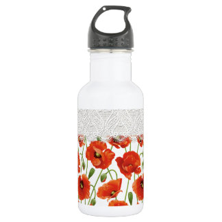 Red Flowering Poppy 532 Ml Water Bottle