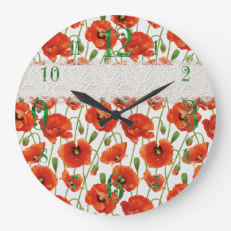 Red Flowering Poppy Large Clock