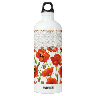 Red Flowering Poppy Water Bottle