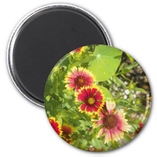 Red flowers 2 inch round magnet