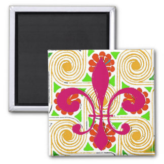 Red Flowers Abstract, Red Fleur De Lis Magnet