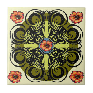Red Flowers and Black Retro Tiles