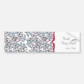 red flowers and blue leaves with label bumper sticker