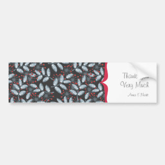 red flowers and blue leaves with label on dark bumper sticker
