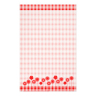 Red Flowers and Gingham Custom Stationery