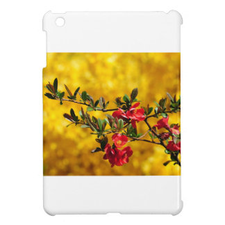 Red Flowers and Gold Case For The iPad Mini