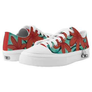 Red Flowers and Green Swirls Low-Top Sneakers