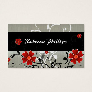 Red Flowers and Silhouette on Silver Business Card