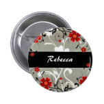 Red Flowers and Silhouette on Silver Button