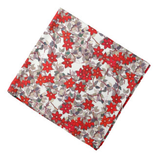 Red flowers and silver gray leaves bandana