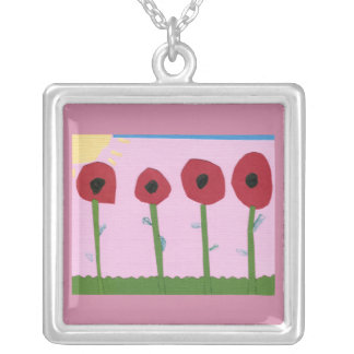 Red Flowers and Yellow Sun on Pink Paper Collage Square Pendant Necklace