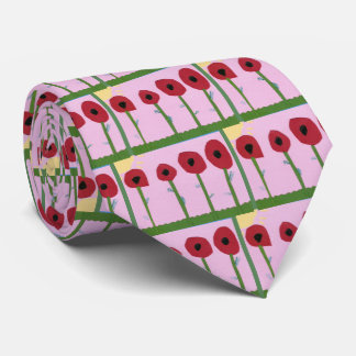 Red Flowers and Yellow Sun on Pink Paper Collage Tie