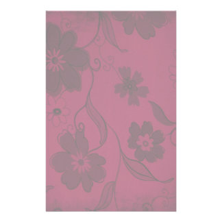 Red Flowers Background Customized Stationery