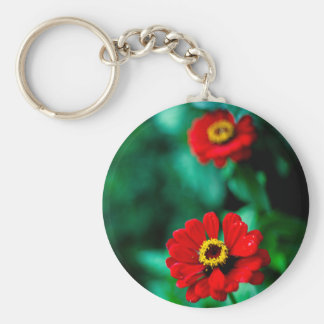 Red flowers basic round button keychain