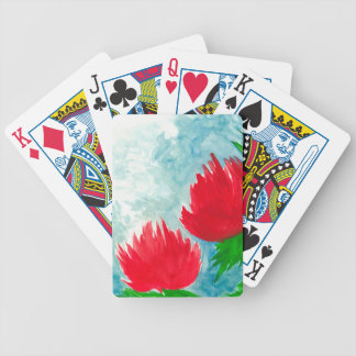 Red flowers bicycle playing cards