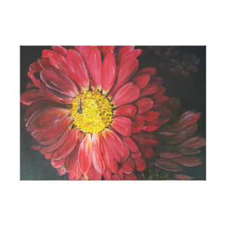 Red flowers black context painting canvas print