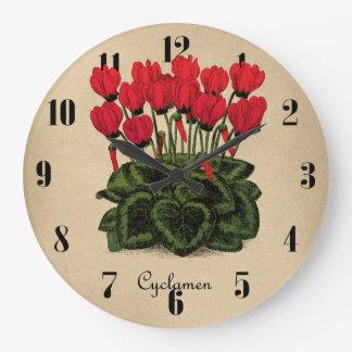 Red Flowers Botanical Clock - Vintage Cyclamen