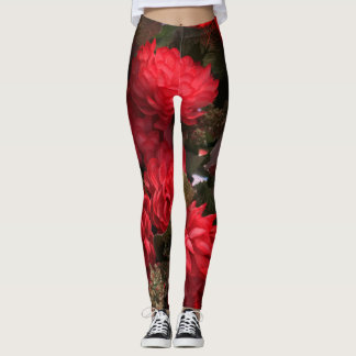 Red Flowers Bouquet Leggings