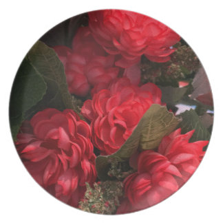 Red Flowers Bouquet Melamine Plate