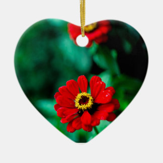 Red flowers ceramic heart ornament