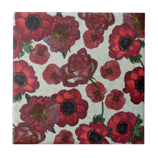 Red flowers Ceramic Photo Tile