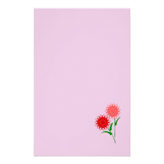 Red Flowers Custom Stationery