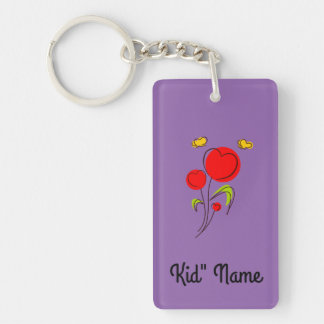Red Flowers Double-Sided Rectangular Acrylic Keychain