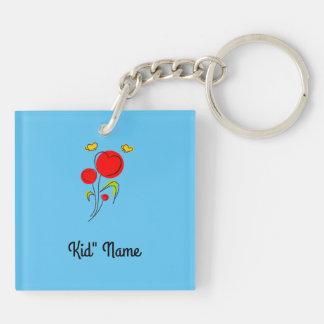 Red Flowers Double-Sided Square Acrylic Keychain