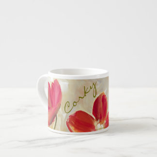 Red Flowers Espresso Cups
