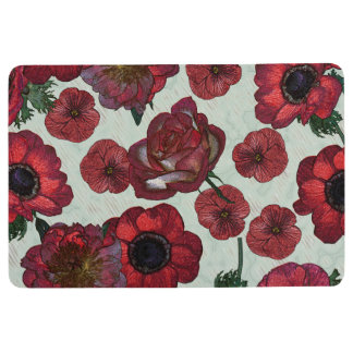 Red flowers Floor Mat
