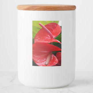 Red Flowers Food Container Label