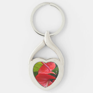 Red Flowers Heart Keychain