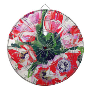 Red Flowers Impressionist Floral Dart Board