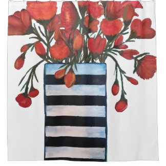 Red Flowers in Black and White Striped Vase
