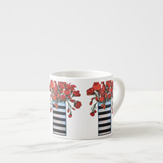 Red Flowers in Black and White Striped Vase Espresso Cup