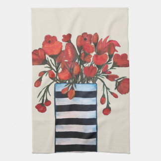 Red Flowers in Black and White Striped Vase Kitchen Towel