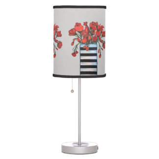 Red Flowers in Black and White Striped Vase Table Lamp